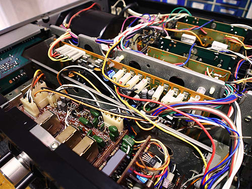 The internals of a stereo system device.