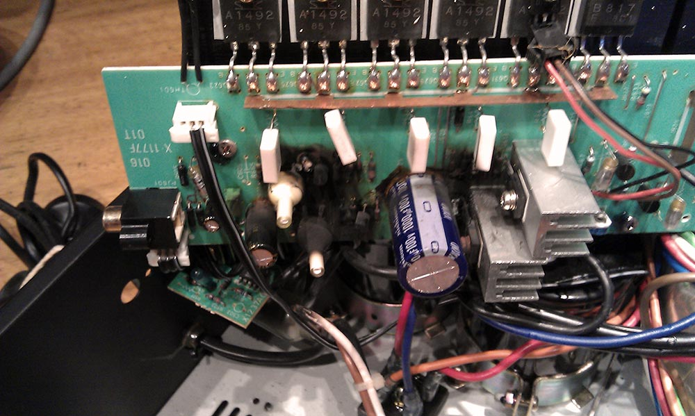 Internal image of a fried audio device.